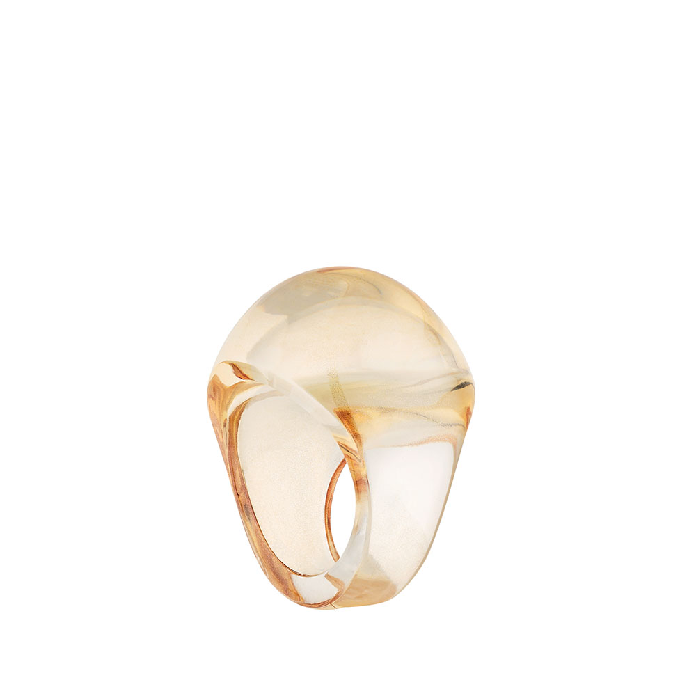 Cabochon ring   Clear crystal, gold luster   Costume jewellery Lalique